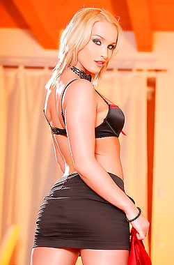 Blonde Escort Kathia Nobili Stripping Very Slowly