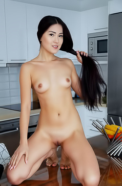 Kimiko - Skinny Asian cutie with a perfect, shaved pussy
